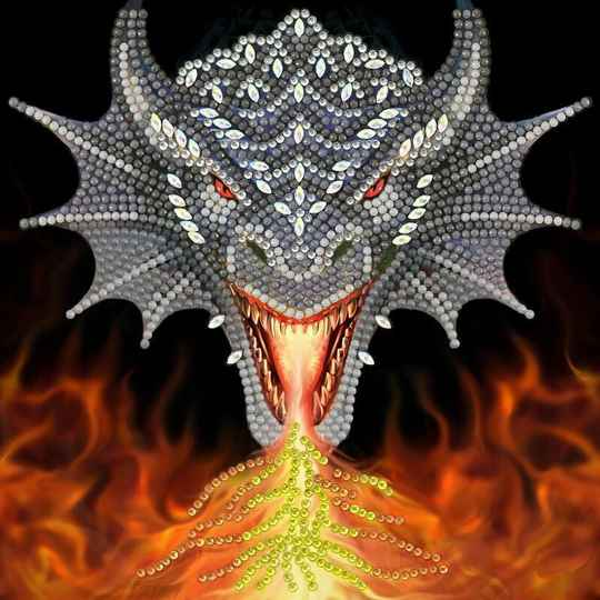 "CCK-A72: ""DRAGON FIRE HEAD"""" 18X18CM CRYSTAL ART CARD ANNE STOKES"""