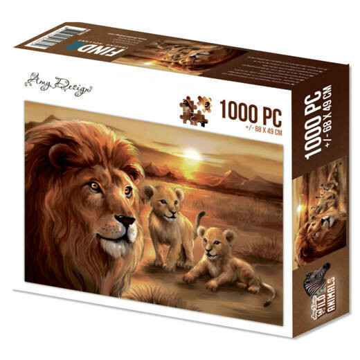 Puzzel 1000 pc - Amy Design - Wild Animals - Lion with cubs