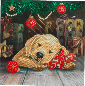 """Sleepy Puppy"" 18x18cm Crystal Art Card"