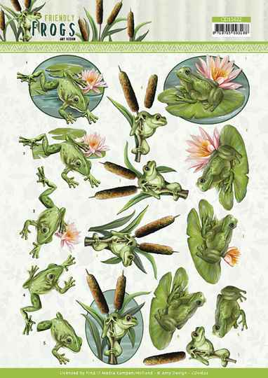 3D cutting sheet - Amy Design - Friendly Frogs - Pond Frogs