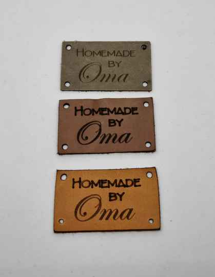 Leren label, homemade by oma, Daphne Brand't