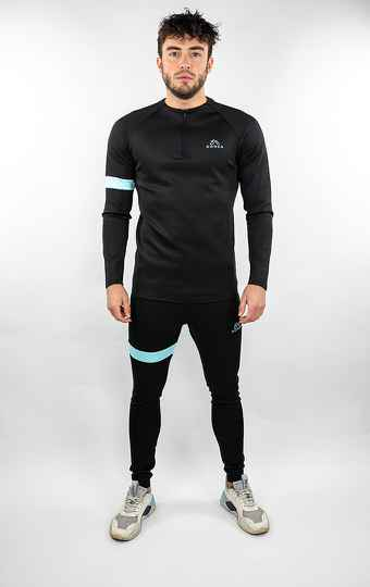 Donza - Polyester Tracksuit - Black/Blue