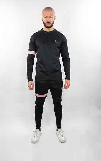 Donza - Polyester Tracksuit - Black/ Pink