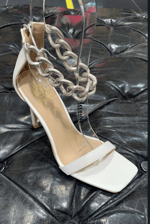 HEELS WITH CHAIN WHITE, PINK & BLACK