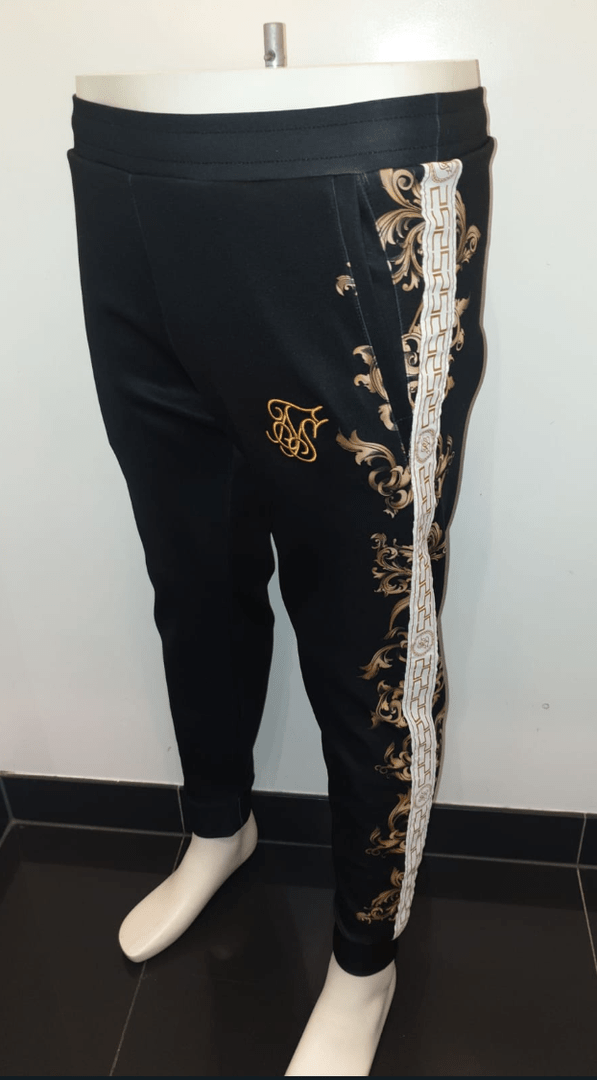 SIK SILK POLY CUFFED TRACK PANTS BLACK WHITE GOLD