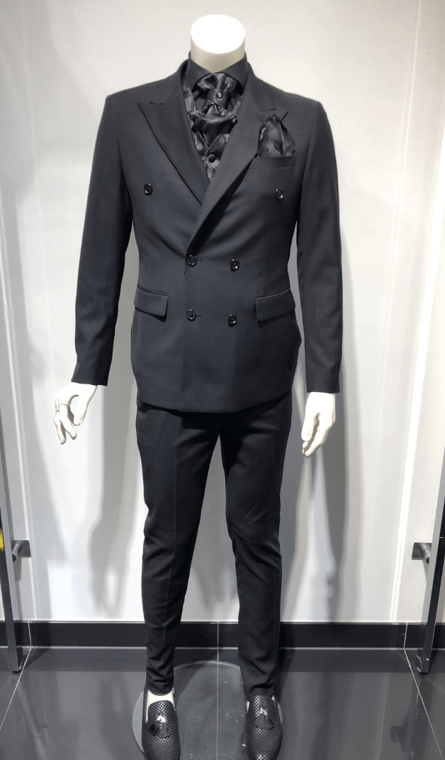 SUIT BLACK DOUBLE BREASTED (2 PIECES)