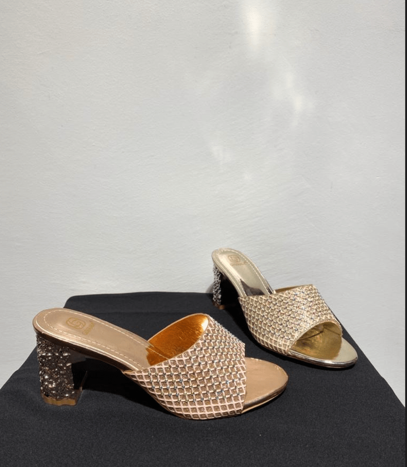 HEELED SLIPPERS CHAMPAGNE & GOLD