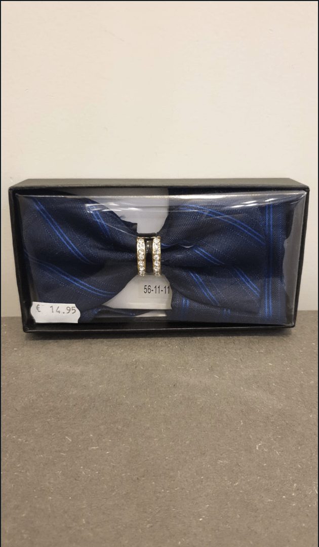 POLYESTER BOW TIE WITH HANDKERCHIEF BLUE