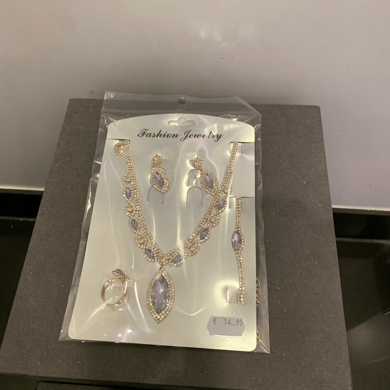 NECKLACE WITH EARRINGS PARIS GOLD/SILVER/PURPLE