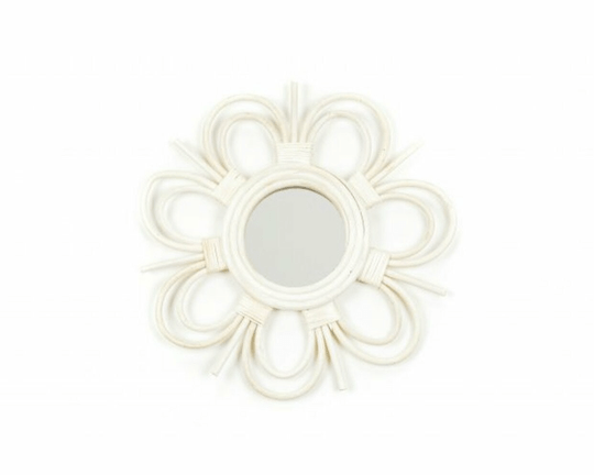 Rotan Flower Mirror White