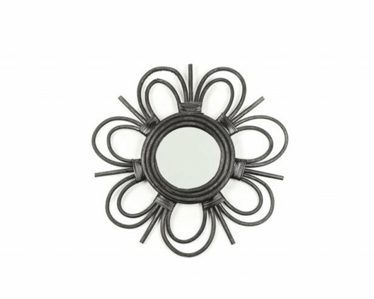 Rotan Flower Mirror Black