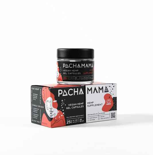 | PACHAMAMA | VEGAN gel caps - jar of 30, 15 PACK 2 or sachet 2 pieces  | 25 Mg | Capsules | THC 0%