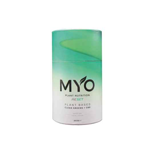 | MYO | Plant Based Nutrition | RESET | CLEAN GREENS | 10 Mg CBD per serving | 250 g |