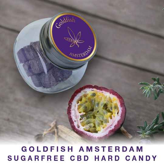 | GOLDFISH AMSTERDAM | SUGARFREE CBD | HARD CANDY | Passion Fruit | THC 0%