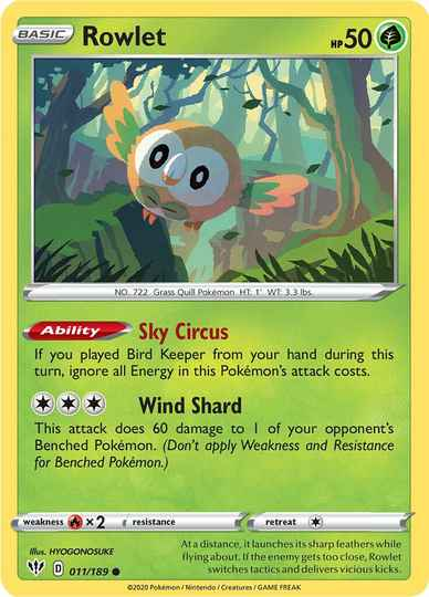 Rowlet -11/192- SWSH Darkness Ablaze - Common