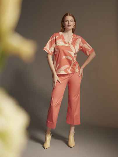 Xandres Gold lange straight fit broek X-PEA coral sea-  004775