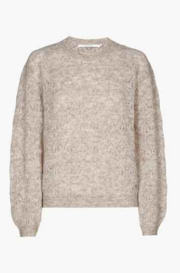 Xandres Gold  pull met ronde hals X-ARNAUD taupe - 005120