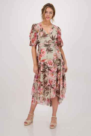 Monari floral dress 406250 dusty green  - 004677