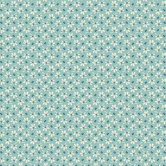 Q787 - stof flowers & beans teal - by Makower