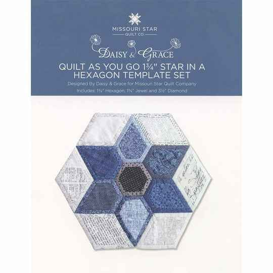"""Quilt As You Go 1 3/4"""" Star in a Hexagon templates van MSQC"""