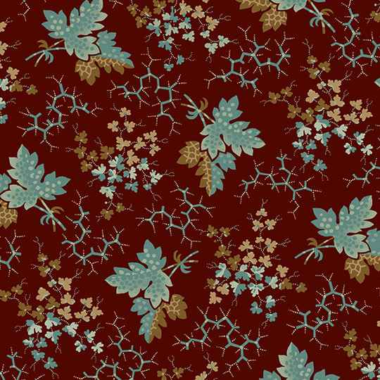 """Q780 - stof falling leaves teal serie """"Anne's English Scrapbook"""" - Di Ford -Hall"""