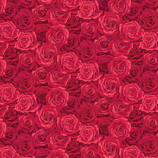 Q343 - stof Red Packed Rose  - by Makower