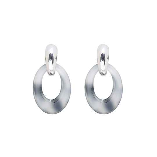 Statement earrings oval rounds - zilver