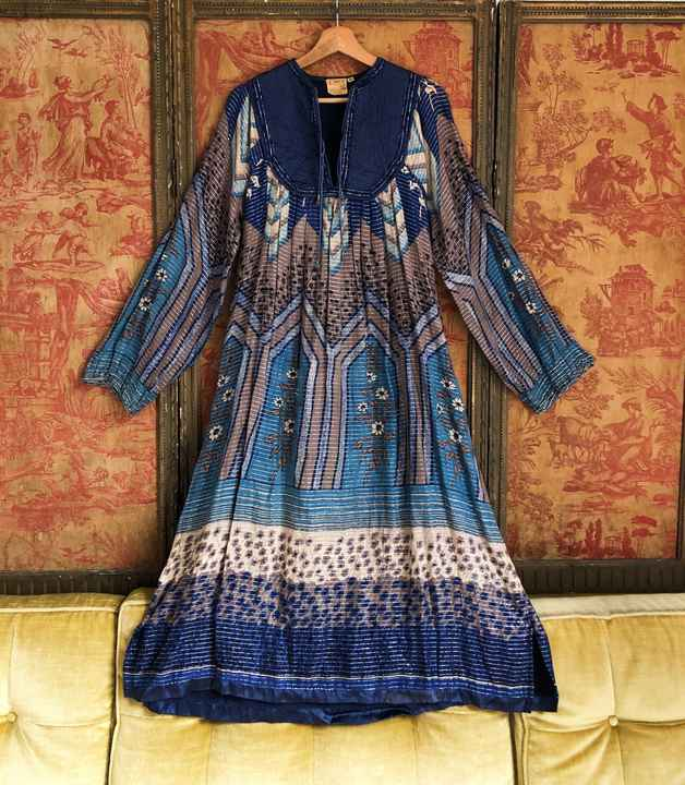quilted Indian cotton dress with silver lurex