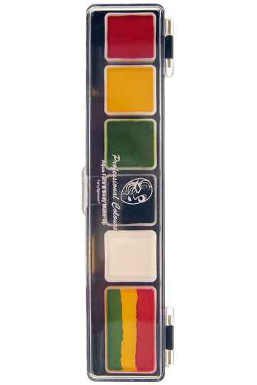 PXP Professional Colours 5 x 3 and 1 x 6 gram rasta colours palet with brush size 25 Regular colours and 1 splitcake