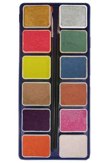 PXP Professional Colours palet metallic colours 12 x 6 gram with 2 brushes ( liner size 0 , flat size 1) 43701