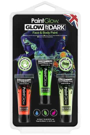 Blister set glow in the dark face & body paint 42381