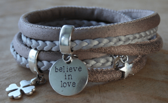 Wikkel armband, believe in love!