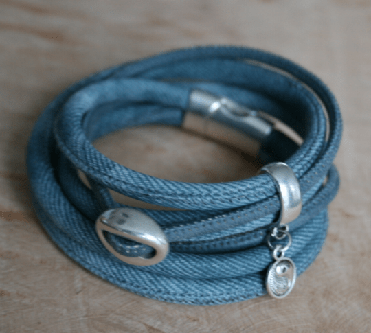 Wikkel armband - Denim look