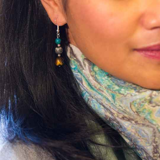 Art Bandana & silver gemstone earrings