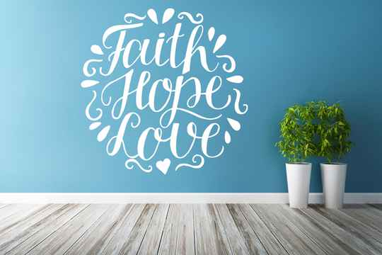 Muursticker 191121 - Faith Hope Love