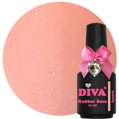 DIVA rubber base coat - dark peach sparkle