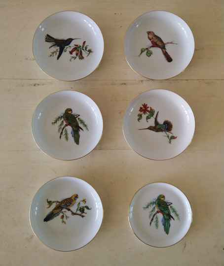 Set van 6 vintage petit four of tapas bordjes met vogels