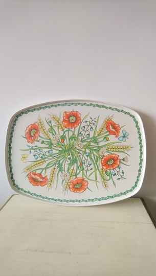 "Vintage dienblad ""klaprozen"" Wiveliscombe Somerset - tray with poppies"