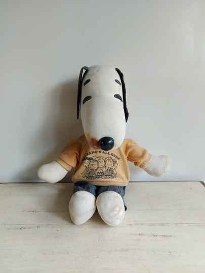 "Vintage Peanuts Snoopy knuffel ""The gang's all here"" 1960"