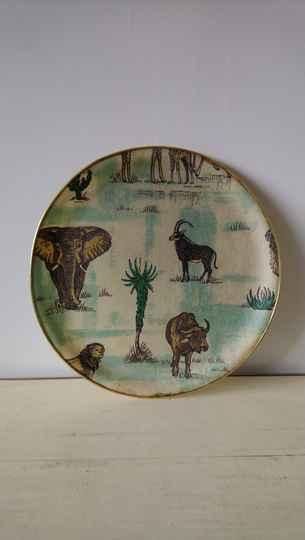 "Vintage dienblad glasfiber ""wilde dieren"" Toro Designs / glass fiber tray wild animals"