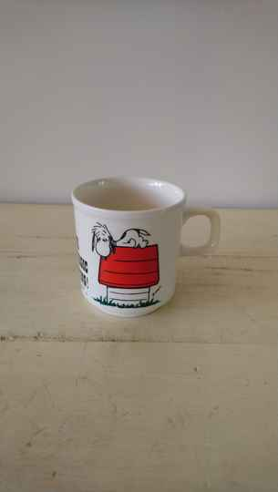 "Vintage beker Snoopy ""I think I'm allergic to morning!"""