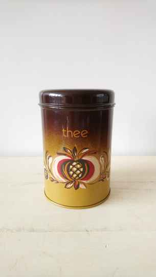"Vintage Brabantia bruin blik ""thee""/ brown tea tin"