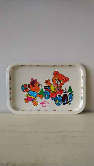 "Vintage dienblad ""beertjes in auto"" tray bears with car"