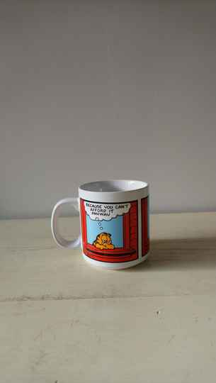 "Vintage Garfield beker of mok ""Life is like a Ferrari"" 1978 Jim Davis mug"