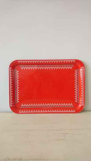 Vintage rood dienblad Candlelight England / red metal tray
