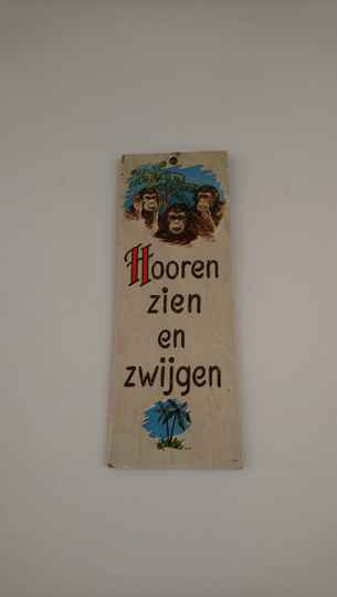 "Vintage wandbord spreukbord ""Hooren zien en zwijgen/Hear, see and speak no evil"" wall decoration"