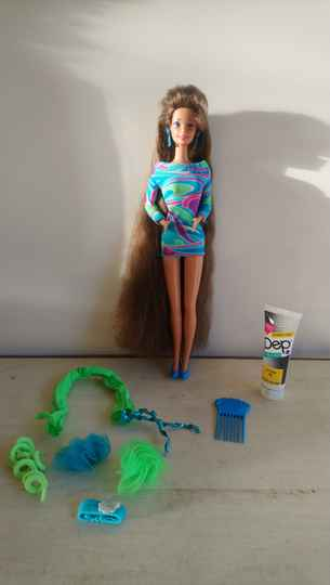 Vintage Totally Hair Barbie Brunette 1992 Mattel met accessoires