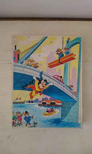 """Vintage Jig saw puzzle """"Super Muis/Mighty Mouse"""" 1972"""