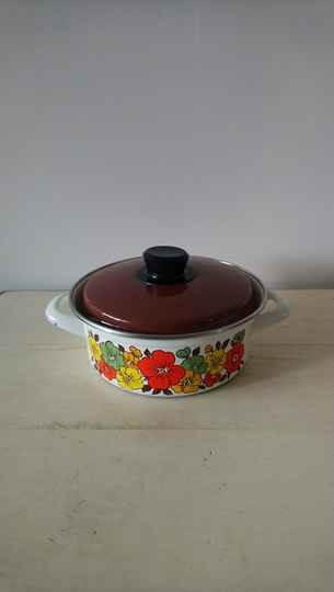 Vintage emaille pan met bloemenprint / enamel pan with flower print