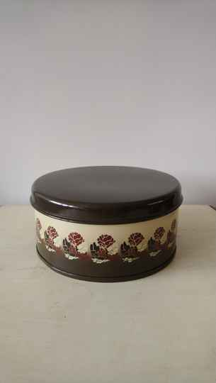 Vintage Brabantia koektrommel bruin beige met bloemen / biscuit tin cookie jar with brown flowers